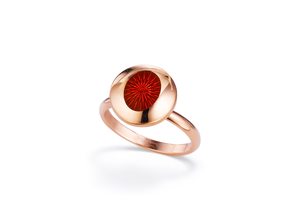 18ct rose gold and red enamel ring