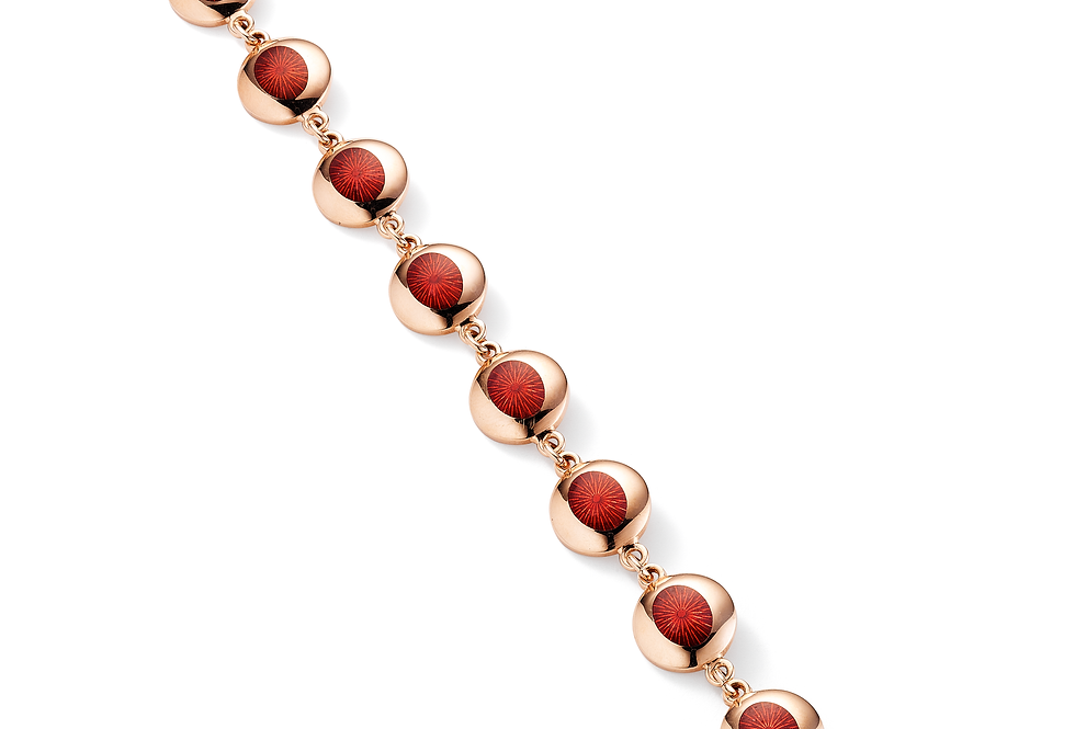 18ct rose gold red enamel bracelet