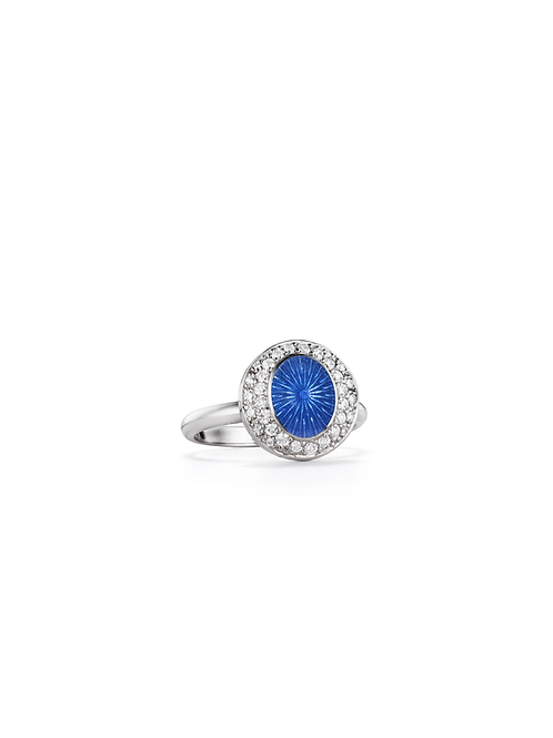 18ct white gold diamond and blue enamel ring
