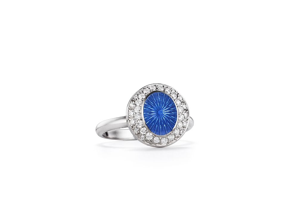 18ct white gold diamond and blue enamel ring