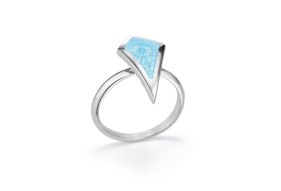 silver and powder blue enamel ring