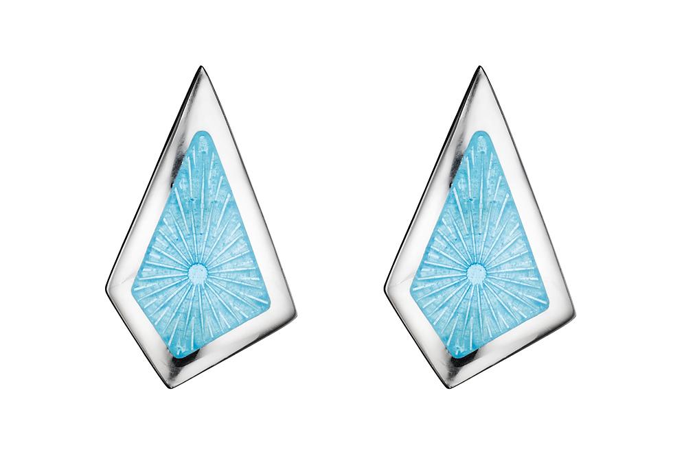 silver and powder blue enamel earrings