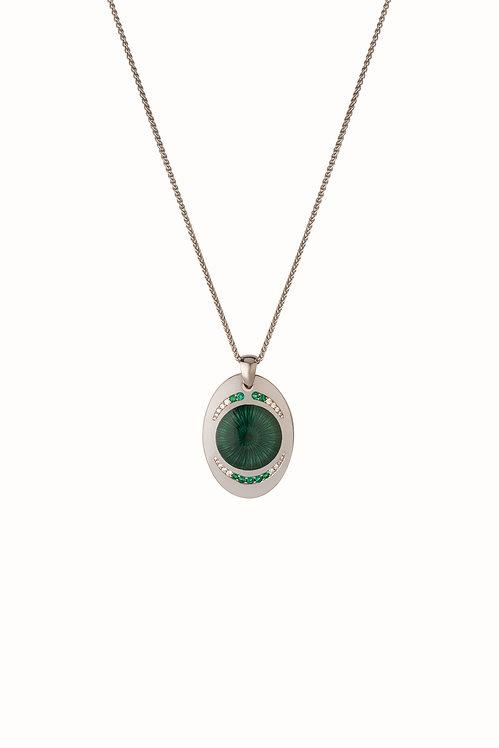 Ellipse Diamond and Emerald Green Pendant