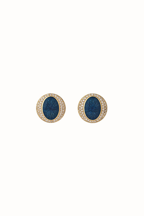 Ellipse Ocean Blue Diamond Earings