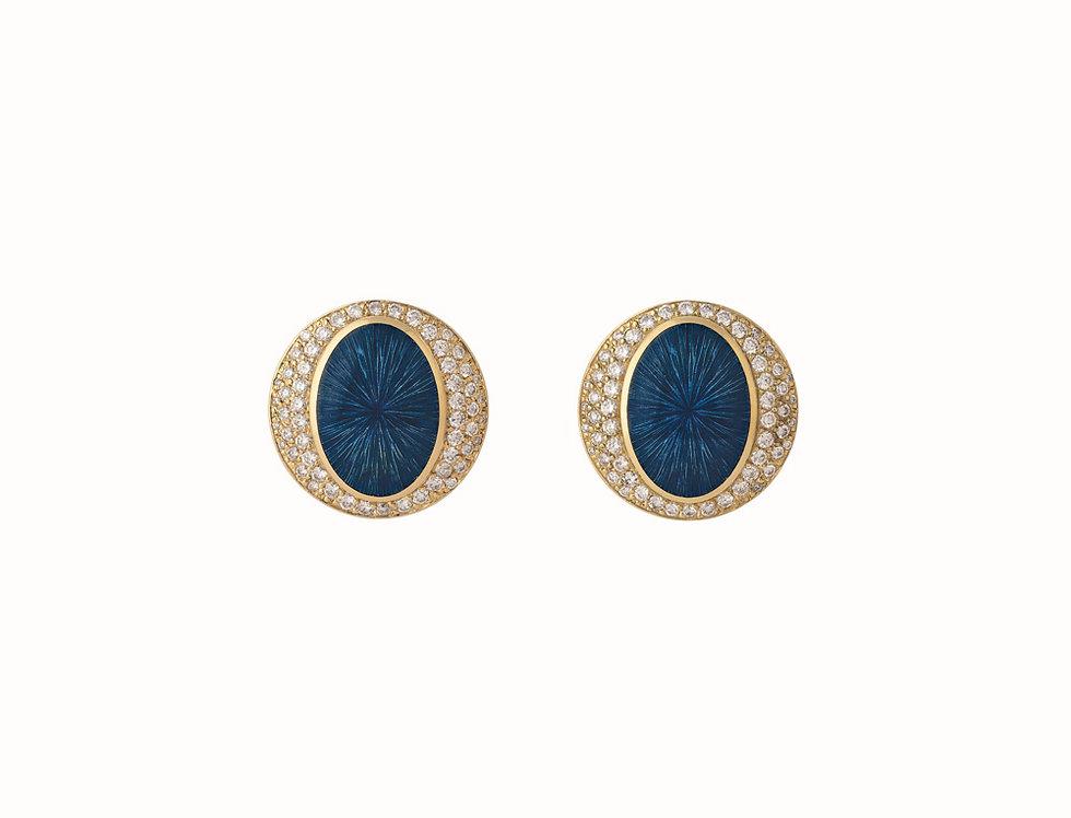 Ellipse Ocean Blue Diamond Earings