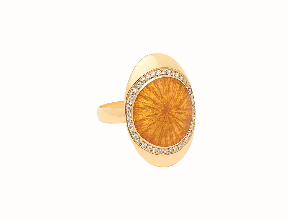 Ellipse Amber Diamond Large Ring