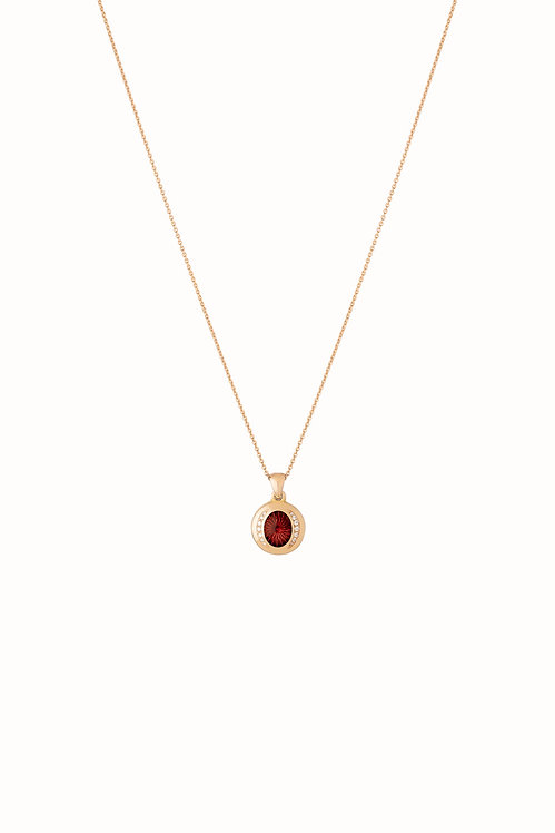 Ellipse Ruby Diamond Pendant