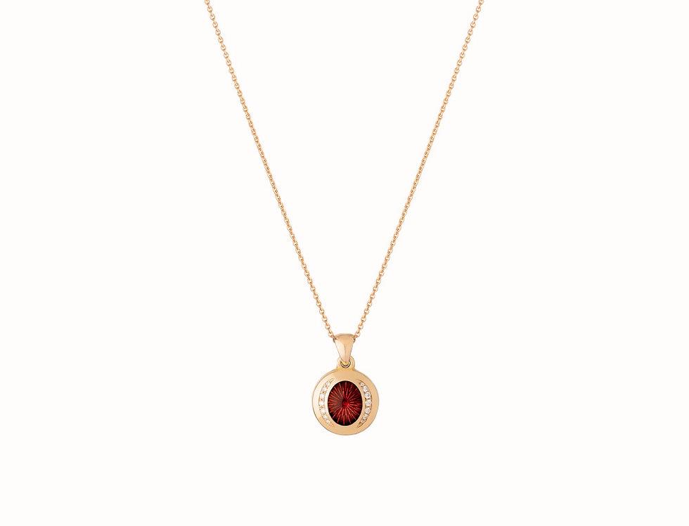 Ellipse Ruby Diamond Pendant