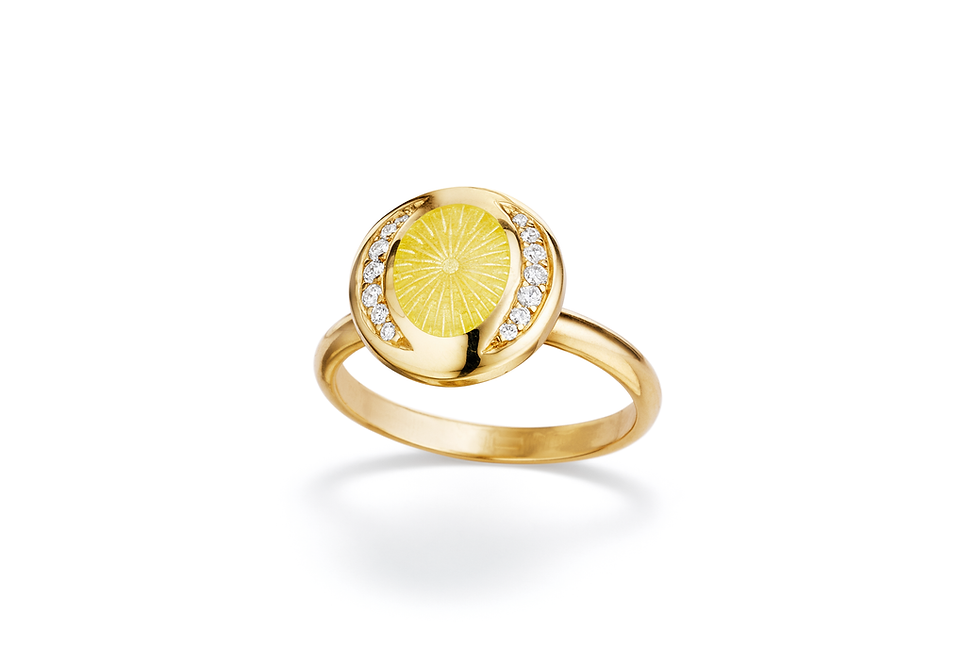 18ct yellow gold diamond and yellow enamel  ring