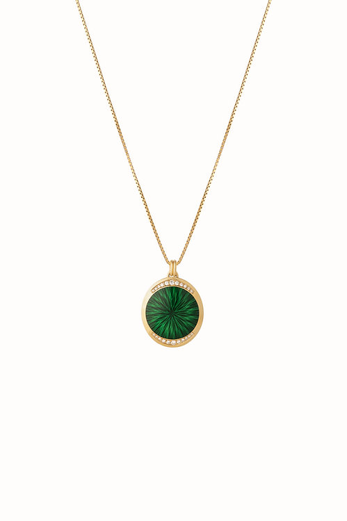 Ellipse Forest Green Diamond Pendant