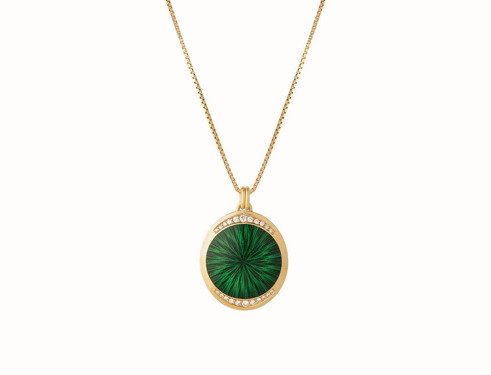 Ellipse Forest Green Diamond Pendant