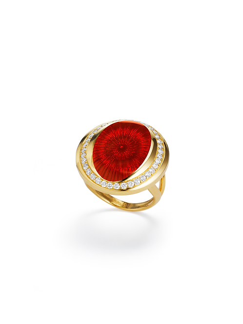 18ct yellow gold diamond and red enamel ring