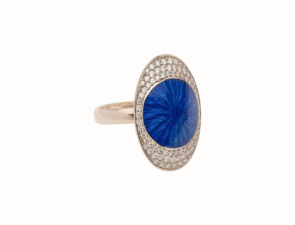 Ellipse Ocean Blue Diamond Large Ring