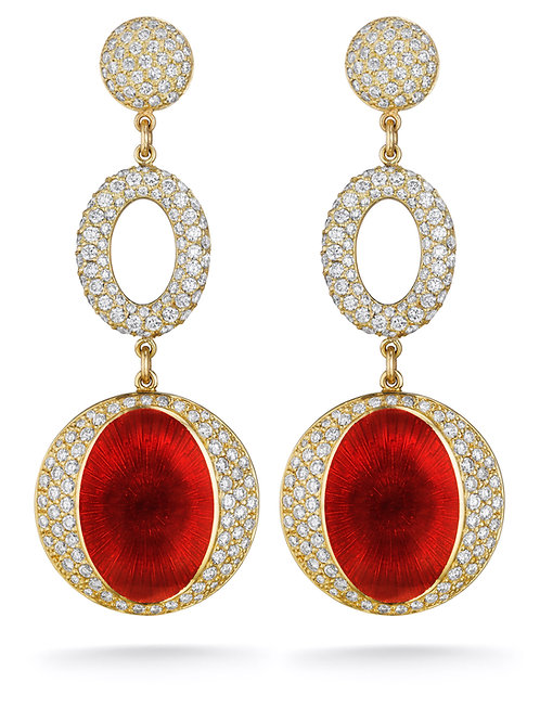 18ct yellow gold diamond and red enamel earrings