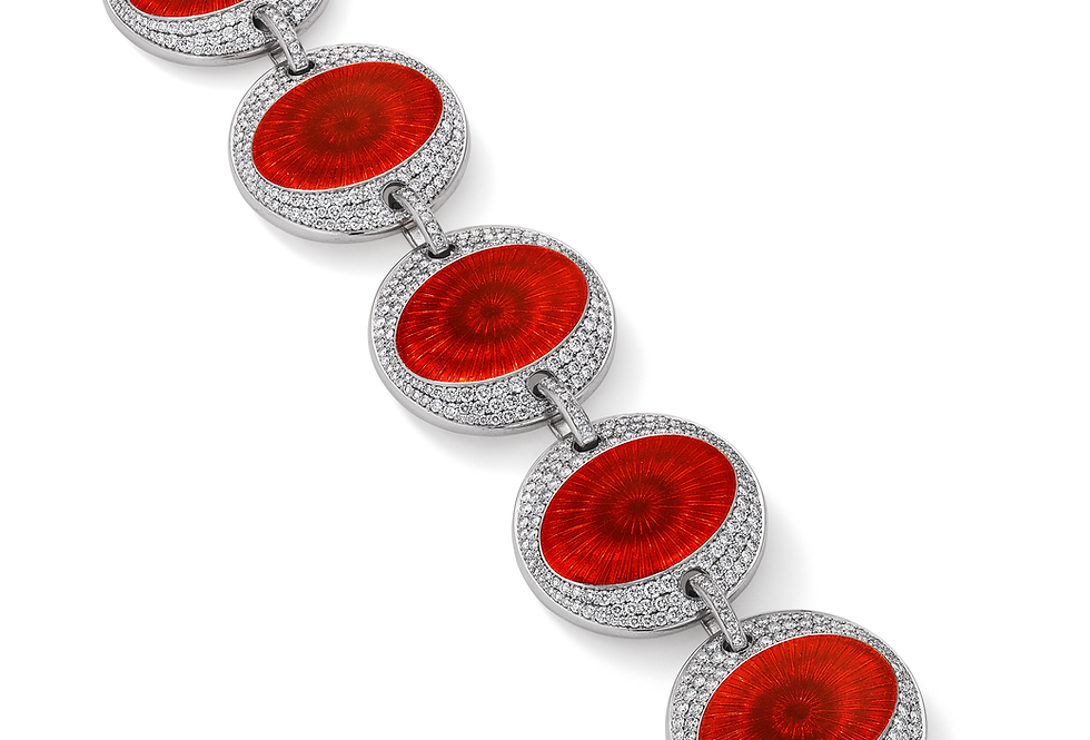 18ct white gold diamond and red enamel bracelet