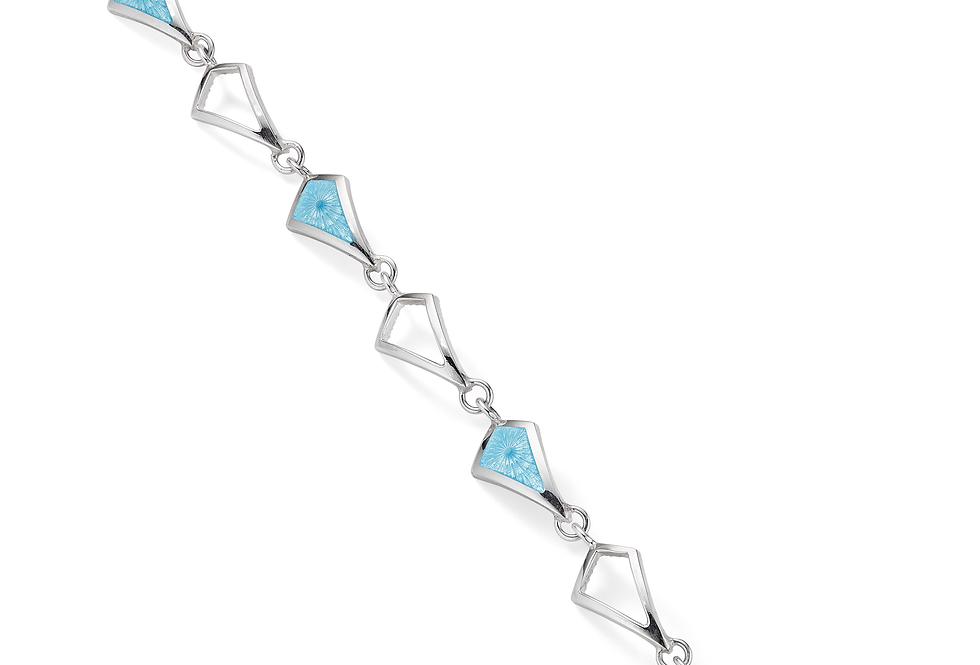 silver and powder blue enamel bracelet