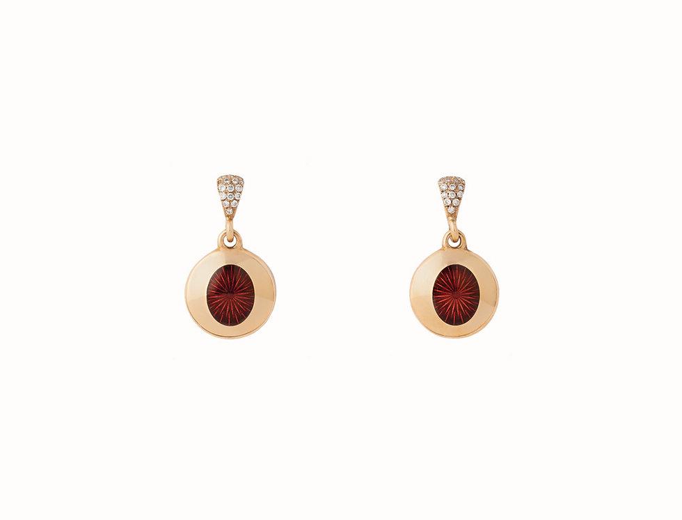 Ellipse Ruby Diamond Drop Earrings