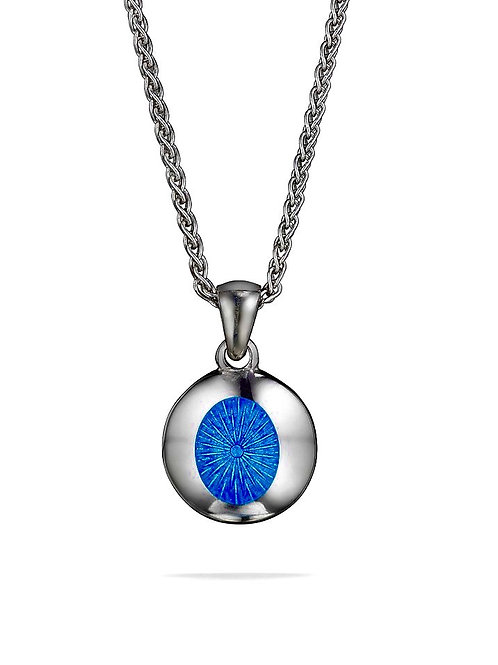 NHS Silver and  blue enamel pendant