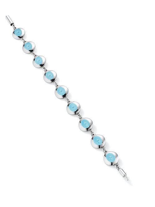 silver and powder blue enamel bracelet