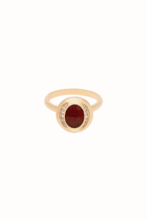 Ellipse Ruby Diamond Everyday Ring