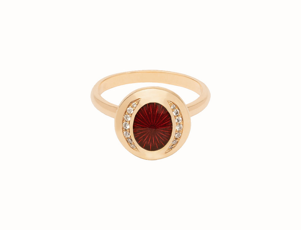 Ellipse Ruby Diamond Everyday Ring
