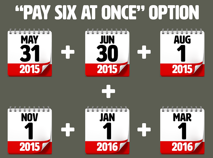 """PAY SIX AT ONCE"" Option"