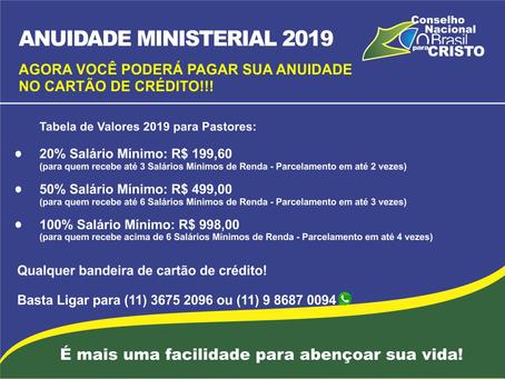 Novidade para pagar a Anuidade Ministerial