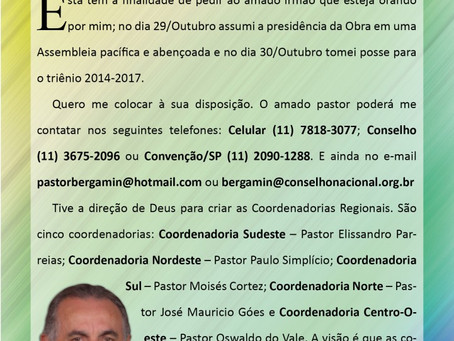 Carta do Presidente Nacional aos Pastores