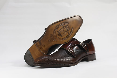 Calf Leather Double Monk Strap Shoe With Pattern Finish - H9365