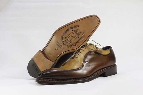 Calf Leather Two Tone Oxford With Split Toe - H2116