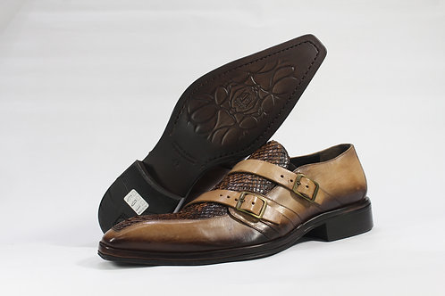 Calf Leather Double Monk Strap Shoe With Genuine Python Leather Vamp - JG2713