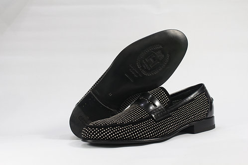 Calf Leather Silver Studded Loafers - H8410