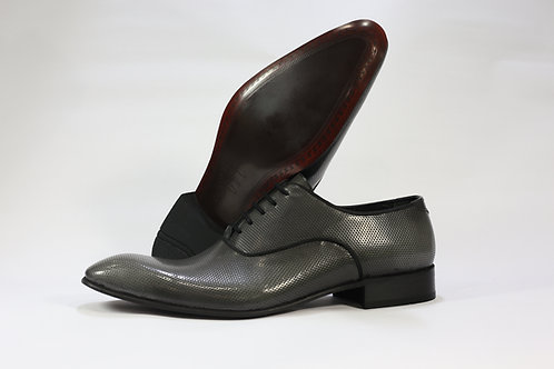 Patent Calf Leather Oxford Shoe with Dot Pattern - F43235