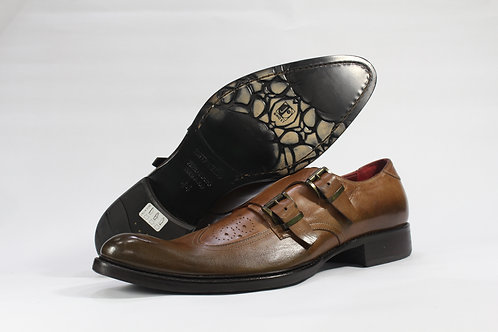 Calf Leather Double Monk Strap Shoe With Brogued Vamp - JG1005