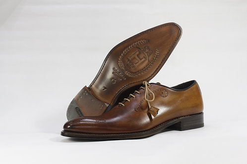 Calf Leather Whole Cut Oxford With Toe Brogue - H2273