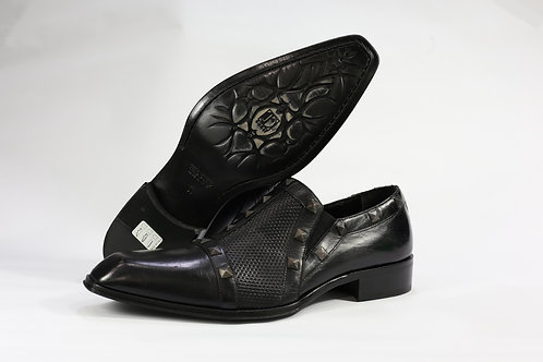 Calf Leather Slip On Shoe With Textured Leather Upper and Bold Studs - JG2868