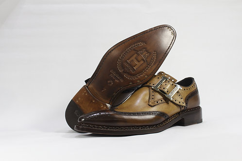 Calf Leather Single Monk Strap Shoe In Two Tone With Wingtip Brogue - H9194