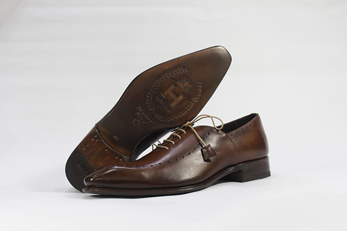 Calf Leather Oxford With Drop Toe Lace Up and Diamond Brogue - H2221