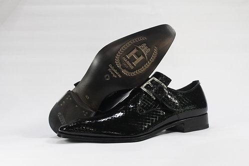 Patent Leather Single Monk Strap Shoe With Diamond Imprint Design - H9195