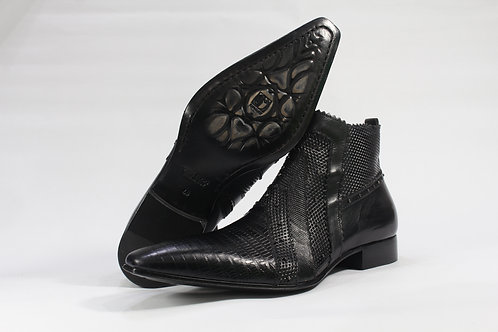 Textured Calf Leather Slip On Boot With Metal Stud - JG2907