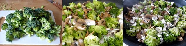 préparation des légumes, pennes aux brocolis, champignons et feta