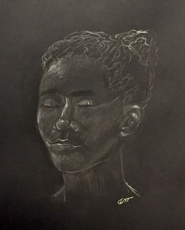 Portrait - Conté crayon on Black Charcoal Paper