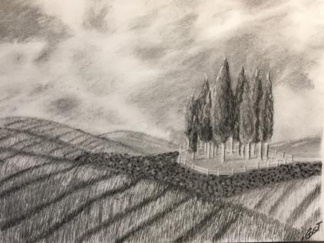 Landscape - Charcoal on Paper