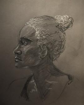 Portrait - Conté crayon on Dark Gray Charcoal Paper