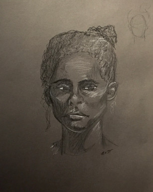Portrait - Conté crayon on Dark Gray Charcoal Paper