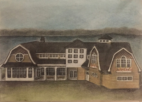 Lakehouse Landscape - Charcoal and Pastel on Paper