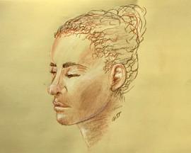 Portrait - Conté crayon on Yellow Charcoal Paper
