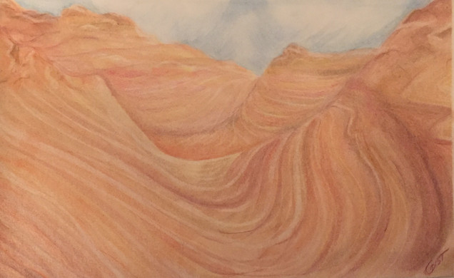 Canyon Landscape - Colored Pencil on Paper