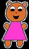 Cartoon drawing of Brown Bear in pink dress