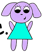 Cartoon drawing of Oofie a purple dog